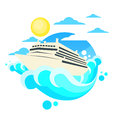 Cruise Ship Liner Summer Ocean Circle Logo Royalty Free Stock Photo