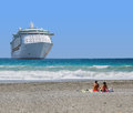 Cruise ship moored on the beach Royalty Free Stock Photo