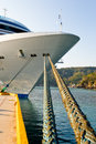 Cruise ship moored in harbor Stock Image
