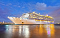 Cruise ship night Stock Images