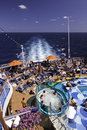 Cruise Ship - Ocean View Hot Tub and Sunbathing Royalty Free Stock Image
