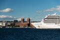 Cruise ship in Oslo fjord with City Hall Royalty Free Stock Photo