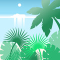 Cruise ship sailing along the tropical beach with palm trees. Flat vector landscape.