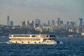 Cruise ship sails in Bosporus Royalty Free Stock Photo