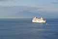 Cruise ship in sorrento gulf with vesuvio background Royalty Free Stock Photography