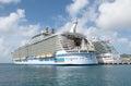 Cruise ship in st maarten allure of the seas philipsburg nov ships royal caribbean and regal princess princess cruises docked port Royalty Free Stock Photos