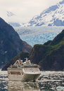 Cruise Ship in Tracy Arm Fjord, Alaska Royalty Free Stock Photo