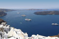 Cruise ships on Mediterranean sea in Santorini Royalty Free Stock Photo