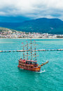 Cruise touristic ship alanya turkey may in popular resort on may alanya is a biggest international sea resort located on the Royalty Free Stock Image