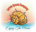 Cruise travelling logo with seashell