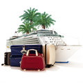 Cruise vacation ship with luggage and palms in the background Royalty Free Stock Photos