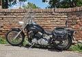 Cruiser black motorcyle on stand Stock Photo