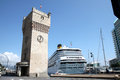 Cruiser in harbour of Savona, Italian Riviera Royalty Free Stock Photo