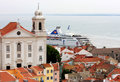 Cruiser in the river of Tagus, Lisbon, Portugal Stock Image