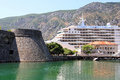 Cruiser ship big docked in harbor of kotor montenegro Stock Photo