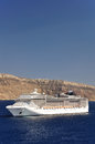 Cruises template modern cruise liner near coast line Stock Photography