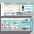 Cruises to paradise boarding pass design cruise ship flat graphic template face and back side Stock Images