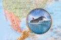 Cruising in the caribbean looking on with blurred map of north america background Royalty Free Stock Photos