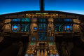 Cruising at flight level cockpit view of a commercial jet aircraft Stock Photo