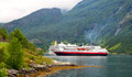 Cruising ship in the fjord Royalty Free Stock Photo