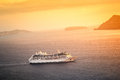 Cruising ship sunset Royalty Free Stock Images