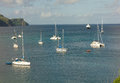 Cruising yachts at anchor in admiralty bay Royalty Free Stock Photo