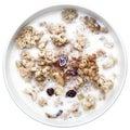 Crujidos con la leche desayuno sano Fotografía de archivo