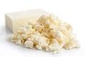 Crumbled white feta cheese isolated on white. Royalty Free Stock Photo