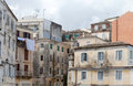 Crumbling buildings in corfu dilapidated the backstreets of town greece where poverty leaves once grand houses to decay Stock Image