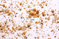 Crumbs on white background close-up view Royalty Free Stock Photo
