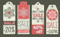 Crumple christmas labels with sale offer vector illustration Royalty Free Stock Photography