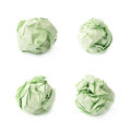 Crumple paper ball isolated green over the white background set of four foreshortenings Royalty Free Stock Photography