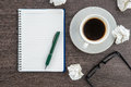 Crumple paper notebook and pen with cup of coffee on the desk Stock Image