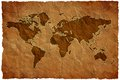 Crumple paper world map Royalty Free Stock Photo