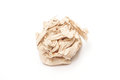 Crumpled brown tissue paper ball on white background Royalty Free Stock Images
