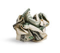 Crumpled dollar bill Royalty Free Stock Photos