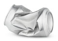 Crumpled empty soda or beer can isolated on white Royalty Free Stock Photo