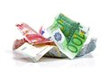 Crumpled euro money Royalty Free Stock Photo