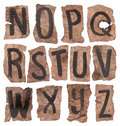 Crumpled letters from N to Z Royalty Free Stock Photos