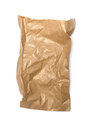 Crumpled paper bag with grease spots isolated on white Royalty Free Stock Image