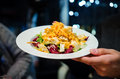 Crunchy chicken and vegetables salad with carrots radicchio Royalty Free Stock Photo