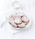 Crunchy cookies dusted with icing sugar Royalty Free Stock Photo
