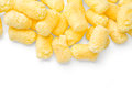 Crunchy corn snacks on white background with clipping path Stock Images