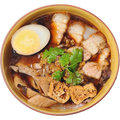 Crunchy Pork Soup with noodle isolated, Chinese food menu kuay j Royalty Free Stock Photo