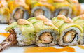 Crunchy sushi close up avocado and fried shrimp Royalty Free Stock Photo