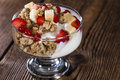 Crunchy yoghurt with fresh fruits some detailed close up shot Royalty Free Stock Image