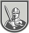 Crusader knight with sword front crest illustration of in full armor brandishing a set inside shield facing on isolated background Stock Images