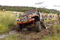 Crush beige jeep wrangler off roader v bafokeng march crossing water obstacle at leroleng x track on march in bafokeng rustenburg Royalty Free Stock Image