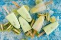 Crushed ice cubes and lemon, kiwi, homemade ice cream on vintage Royalty Free Stock Photo