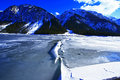 Crushed ice lake at winterly frozen plansee in tyrol austria Stock Photos